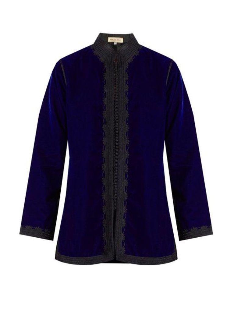 Muzungu Sisters - Dalia Velvet Jacket - Womens - Blue Multi
