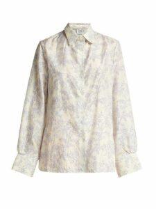 Thierry Colson - Arthur Floral-print Silk Pyjama Shirt - Womens - Blue White