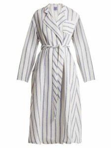 Thierry Colson - Biarritz Striped Linen Blend Coat - Womens - Blue Stripe