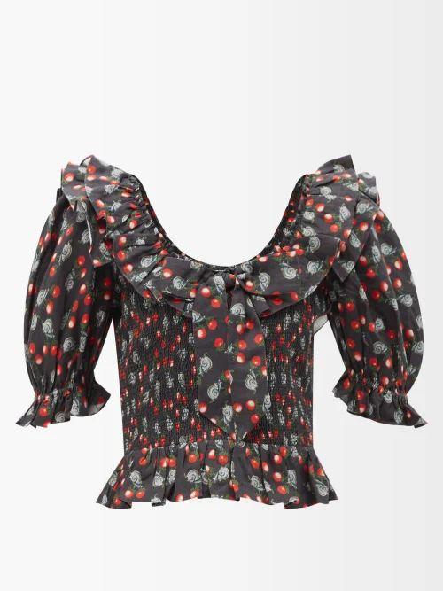 Raey - Oversized Tumbled Leather Biker Jacket - Womens - Black