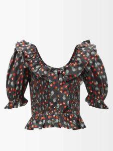 Raey - Oversized Tumbled-leather Biker Jacket - Womens - Black