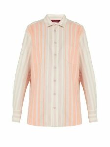 Sies Marjan - Striped Brushed-cotton Shirt - Womens - Pink Stripe