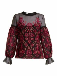 Oscar De La Renta - Cross Stitch Embroidered Silk Organza Top - Womens - Black Multi