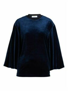 Toga - Flared Sleeves Velvet Top - Womens - Navy