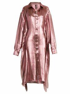 Paula Knorr - Big Long-sleeved Silk-blend Lamé Shirt - Womens - Pink