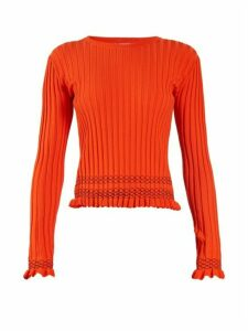 Altuzarra - Malou Ruffled-cuff Ribbed-knit Sweater - Womens - Orange
