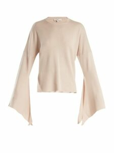 Tibi - Slit Side Wool Blend Knit Sweater - Womens - Nude
