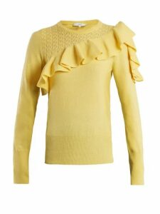 Erdem - Dharma Ruffle Trimmed Knit Sweater - Womens - Yellow