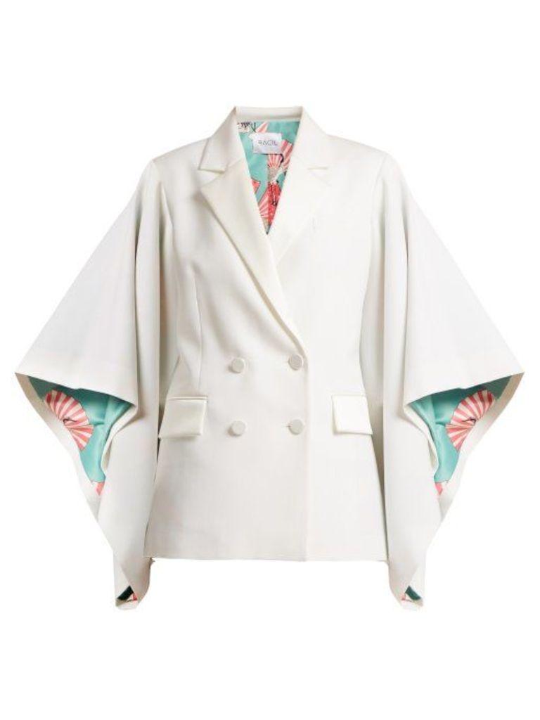 Racil - Kyoto Kimono Sleeved Double Breasted Wool Jacket - Womens - Ivory