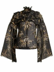 Rodarte - Palm-print Silk-chiffon Blouse - Womens - Black Print
