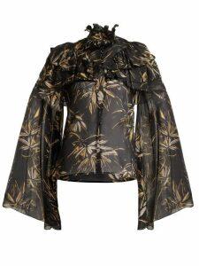 Rodarte - Palm Print Silk Chiffon Blouse - Womens - Black Print