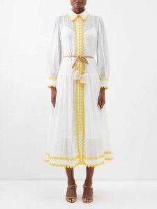 Borgo De Nor - Lily Marquesa Floral-print Silk Dress - Womens - Red Multi