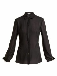 Lanvin - Sheer Silk-blend Shirt - Womens - Black