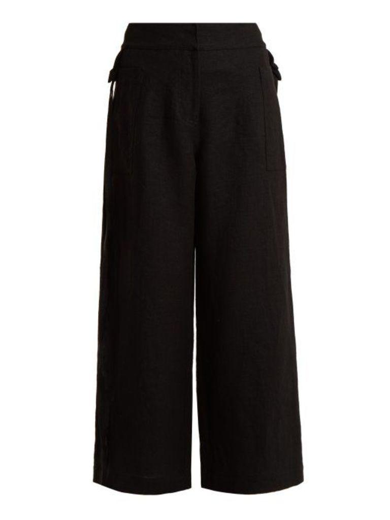 Loewe - High Rise Wide Leg Cropped Linen Trousers - Womens - Black