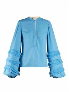 Roksanda - Abeni Frayed-detail Balloon-sleeved Crepe Blouse - Womens - Blue