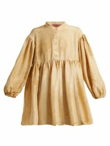 By Walid - Theresa Mottled-effect Silk Top - Womens - Beige