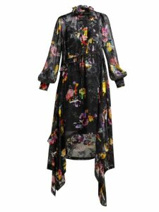 Preen By Thornton Bregazzi - Amelia Floral Devoré Satin Midi Dress - Womens - Black Multi