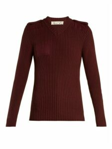 Martine Rose - Ribbed Knit Cotton Sweatshirt - Womens - Burgundy