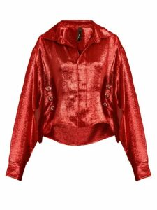 Paula Knorr - Big Long-sleeved Silk-blend Lamé Shirt - Womens - Red