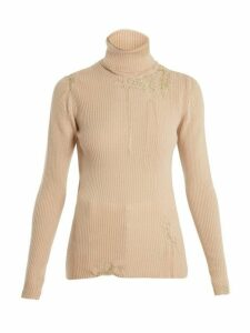 Hillier Bartley - Darning Detail Roll Neck Cashmere Sweater - Womens - Gold