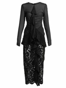 Proenza Schouler - Ruffle Front Lace Dress - Womens - Black