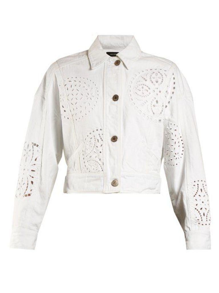 Isabel Marant - Rena Broderie Anglaise Denim Jacket - Womens - White