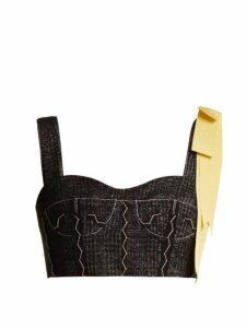 Erdem - Deidra Jacquard Cropped Top - Womens - Black Burgundy