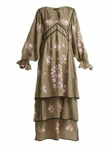 Vita Kin - Spanish Pigeon Embroidered Linen Dress - Womens - Khaki Multi