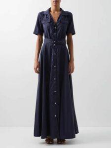 Roksanda - Lada V-neck Silk Blouse - Womens - Blue Multi