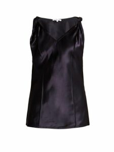 Helmut Lang - Twisted Knot Satin Top - Womens - Navy
