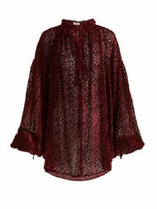Saint Laurent - Flocked Velvet Polka-dot Peasant Blouse - Womens - Burgundy