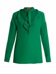 Colville - Neck-tie Silk Blouse - Womens - Green