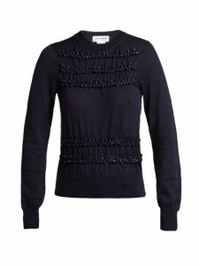 Comme Des Garçons Girl - Ruffled Wool Sweater - Womens - Navy