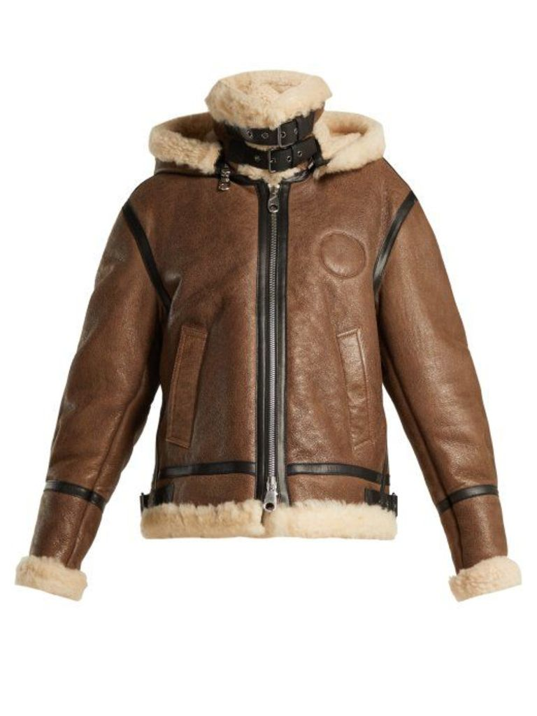 Chloé - Shearling And Leather Aviator Jacket - Womens - Brown Multi