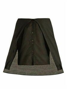 Palmer//harding - Draped Off-the-shoulder Wool-voile Shirt - Womens - Black