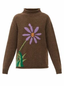 Barrie - Thistle Roll Neck Contrast Panel Cashmere Sweater - Womens - Navy Multi