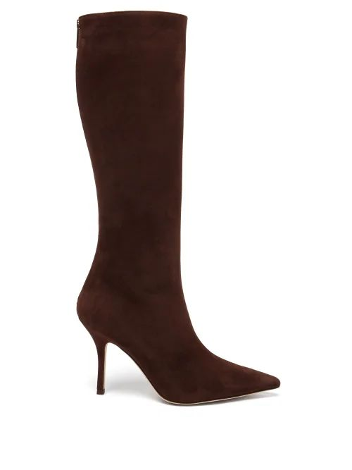 Etro - Wide Leg Crescent Print Silk Trousers - Womens - Yellow Print