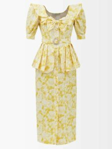 Emilia Wickstead - Lucie Floral-print Halterneck Crepe Top - Womens - Red White