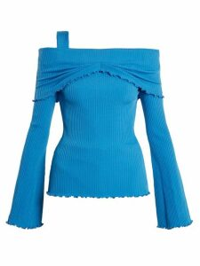 Ellery - Limozeen Off-the-shoulder Ribbed Top - Womens - Blue