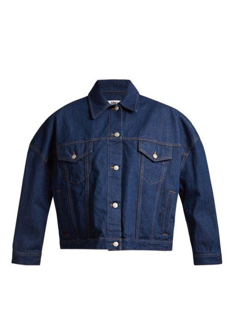 Mm6 Maison Margiela - Oversized Cotton Denim Jacket - Womens - Indigo
