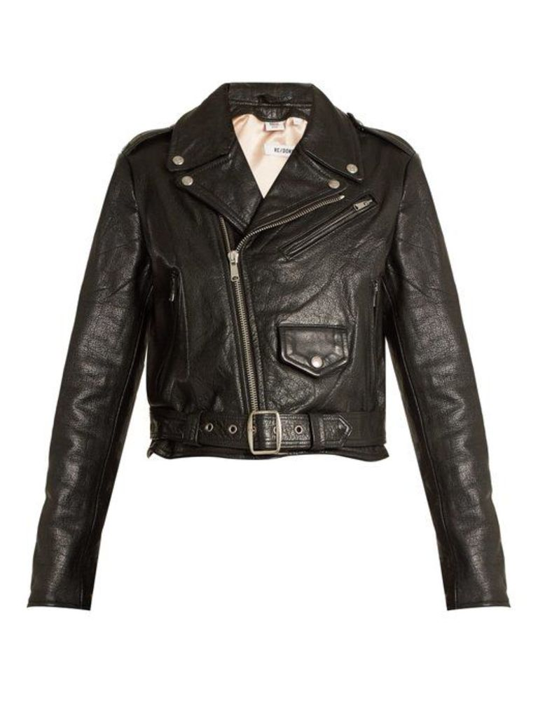 Re/done Originals - Reconstructed Leather Vintage Cropped Jacket - Womens - Black