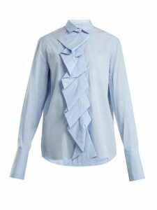 Summa - Ruffled-panel Cotton-poplin Shirt - Womens - Light Blue