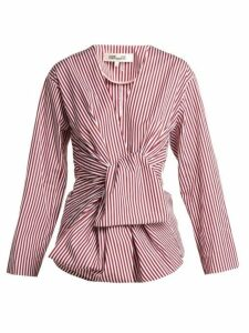Diane Von Furstenberg - Striped Waist Tie Cotton Blouse - Womens - Red White