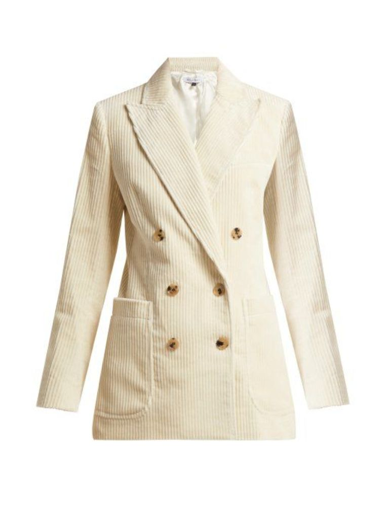 Bella Freud - Bianca Double Breasted Cotton Corduroy Jacket - Womens - Cream