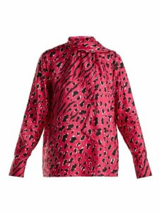 Valentino - Leopard-print Silk Blouse - Womens - Pink Print