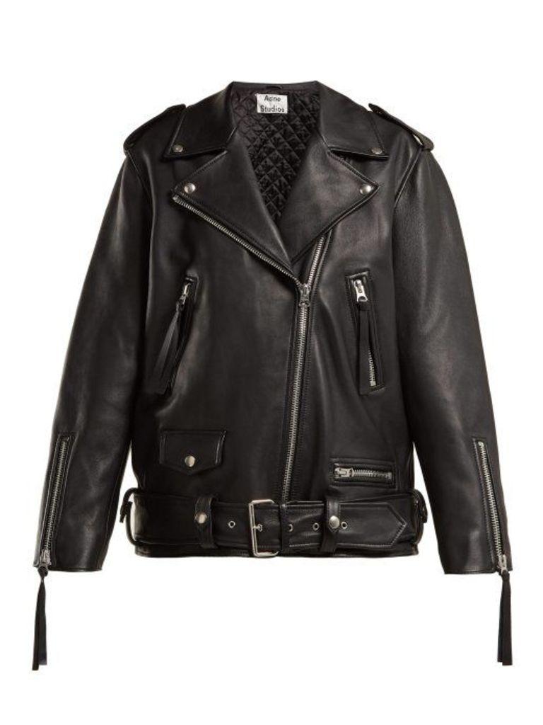 Acne Studios - Leather Biker Jacket - Womens - Black