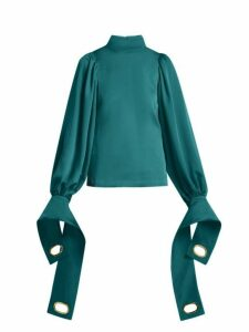 Self-portrait - Exaggerated Cuff Stretch Jersey Blouse - Womens - Dark Green