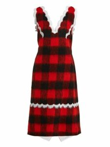 Calvin Klein 205w39nyc - Lace Trimmed Checked Dress - Womens - Red Multi