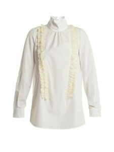 No. 21 - Ruffle-trimmed High-neck Cotton-poplin Blouse - Womens - White