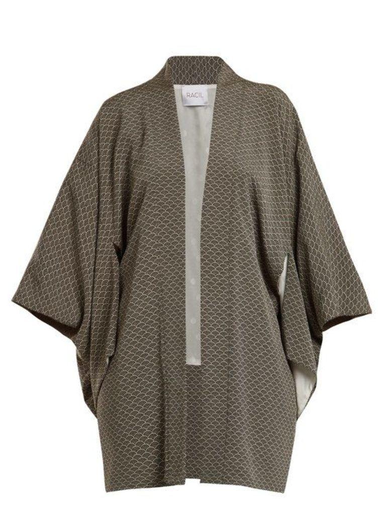 Racil - Sayuri Wave Jacquard Kimono Jacket - Womens - Black White
